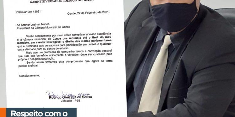 Rodrigo Gonzaga é o único vereador a abrir mão de diárias na Câmara de Conde durante mandato